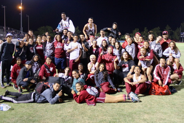 The Covina Colts celebrating an early season win.