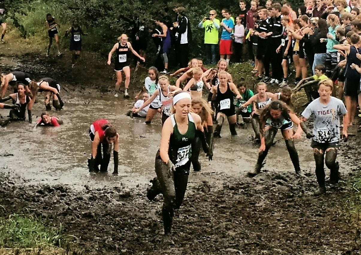 Senior Andrea Diaz coming up out of the Mud Pit